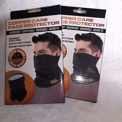(2 Pack) Copper Care Face Mask New In Box FREE SHIPPING Neck Gaiter