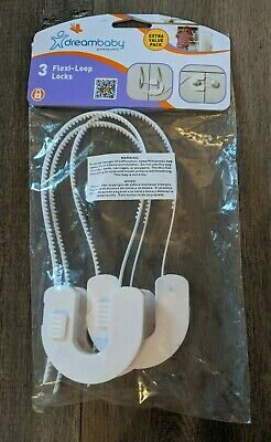 DREAMBABY 3 FLEXI-LOOP LOCKS - Door Lock - White 3 Pack - NEW! Damaged Packaging