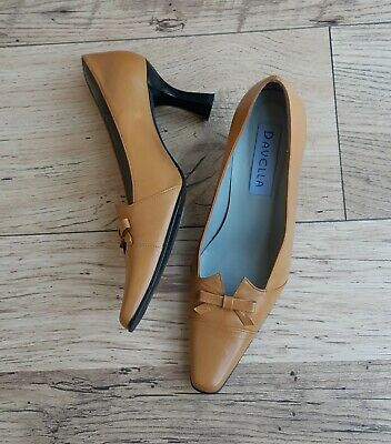 Vintage Davella Mustard Yellow Leather Shoes Size 4UK EU 37