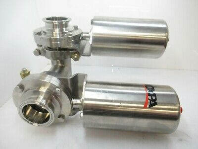 """Inoxpa  Duo Pack Triclamp Sanitary Butterfly Valve Pneumatic Actuator Sing 2"""""""