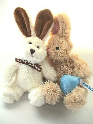 "2 Easter Bunny Hershey Kiss Lot of 2 rabbit Plush toy 91"" Kisses basket Galerie"