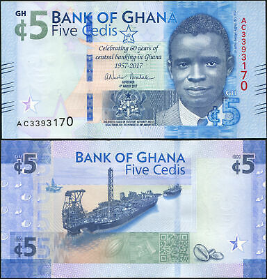 GHANA BANKNOTE 5 CEDIS - P.43a 04.03.2017 UNC - CENTRAL BANKING IN GHANA