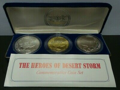 The Heroes of Desert Storm Commemorative 3 Coin Set (1 .999 Silver Coin) - G291