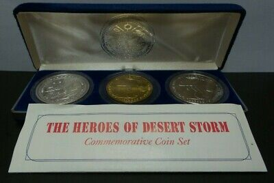 The Heroes of Desert Storm Commemorative 3 Coin Set (1 .999 Silver Coin) - G290