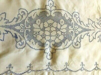 Antique White Linen Embroidered Bed Sheet