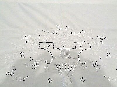 """Antique FRENCH 100% linen sheet hand stitched 88"""" wide x 100"""" long"""