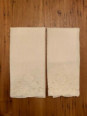 Pair of Antique Linen Hand Towels Hand Embroidered with Cut Work