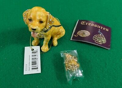 Porcelain GOLDEN RETRIEVER Trinket Box DOG Hinged Lid with Puppy Necklace NEW