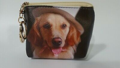 New Golden Retriever Dog Zippered Pouch /Coin Purse With Charm Keychain