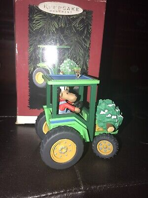 Green Tractor Hauling A Christmas Tree Christmas Ornament