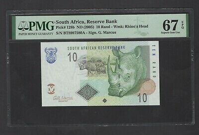 South Africa 10 Rand ND(2005) P128b Uncirculated Graded 67