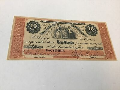 Civil War Currency Reproduction New Jersey 10 Cents Lot #5711