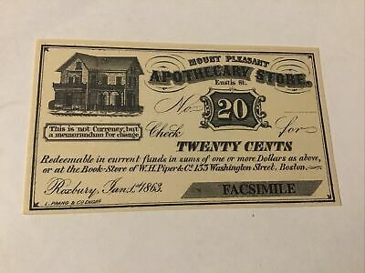 Civil War Currency Reproduction Boston, MA 20 Cents Lot #5674