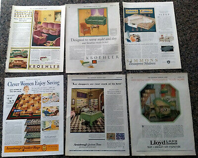 Lot of 10 Home Decor Ads From the Saturday Evening Post Circa 1930.