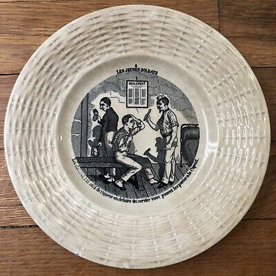 Antique Sarrguemine French Ceramic Plate From 1914-1918