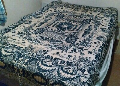 Antique 1800's blanket woven Jacquard blue and white overshot coverlet free sh