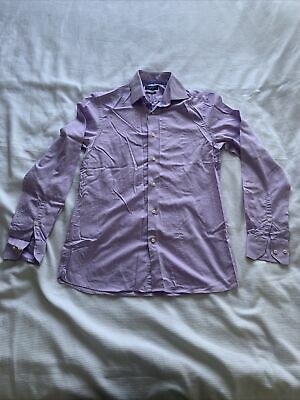 Mens Purple Next Signature Slim Fit 100% Cotton 15 1/2 Collar Shirt