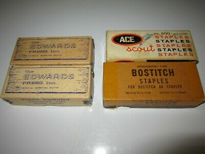 Lot of 4 Vintage Boxes Edwards Bostitch ACE Staples Partially Used