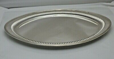 Antique Sterling Solid Silver Oval Serving Platter Tray (1830/9/LWN)