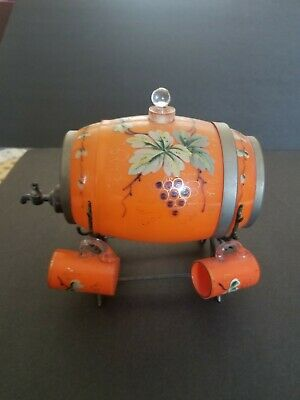 Antique Tangerine Color Glass Barrel Decanter With Matching 4 Shot Glasses