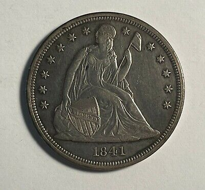 1841 Seated dollar nice XF light cleaning (#12746)