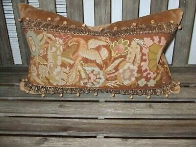 Antique Bird Needlepoint Featured On Newly Created Lumbar Pillow