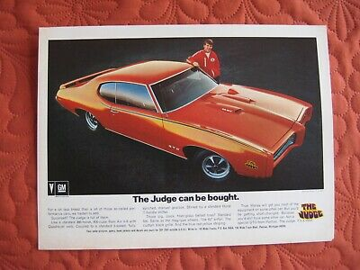 1969 Pontiac Judge  - Orig Print Car Ad - Excellent Condition