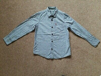 Boys Primark Navy Blue Check Shirt Long Sleeves Cotton Age 9-10 years