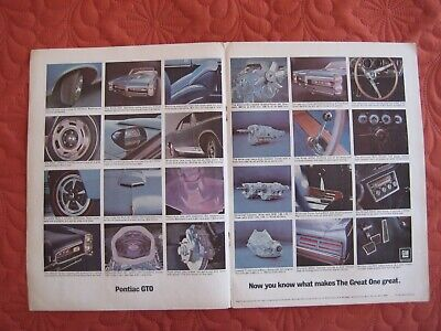 1967 PONTIAC GTO OPTIONS - Original  Print Car Ad - Excellent Cond