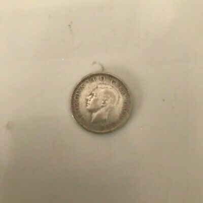 1942 Great Britain 6 Pence Coin King George V1 Face On Coin