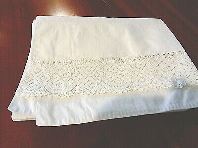"""Antique White with crochet work Bolster Cover 42"""" around x 72"""" long"""