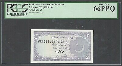 Pakistan 2 Rupees ND(1985-99) P37 Uncirculated Graded 66