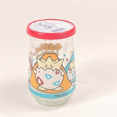 "Vintage Original Pokémon Welch's Jelly Glass w/Lid  "" Togepi "" 1999 Nintendo 25"