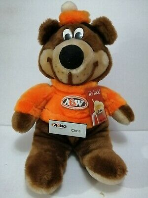 A&W Bear Plushie with name tag pin and Root beer promotional metal pin