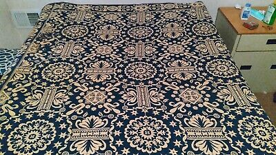 Antique 1800's blanket woven Jacquard blue and white overshot coverlet