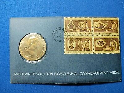 1972 Bicentennial First Day Cover Commemorative Medal & Stamps