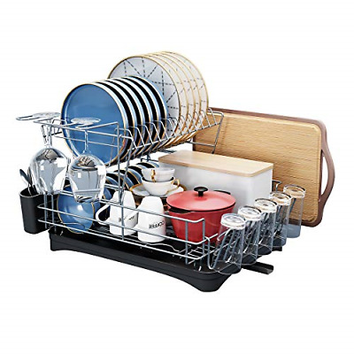 Dish Drying Rack, SMHOUSE 2-Tier Dish Drainers with Utensil Holder,Cutting Board