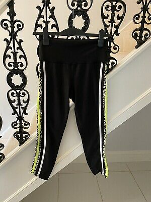 NEWEvolution And Creation EVcR Women Black and Leopard Print/Neon Leggings Large