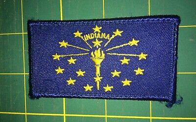 Indiana State Flag Patch With Hook & Loop Attachment System On Back.