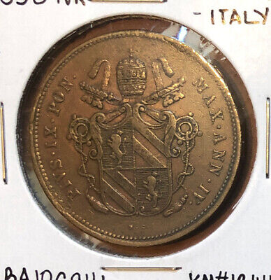 VATICAN 1850-IVR 2 BAIOCCHI ROME PAPAL ITALIAN STATES COPPER COIN 35mm~KM#1344