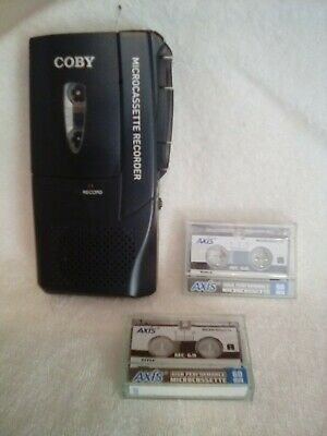 Coby CXR123 Micro Cassette Recorder, works, 2 blank cassettes included