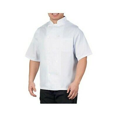 11 White Poly Short Sleeve Chef Coat for Sublimation, Embroidery, Screen Print
