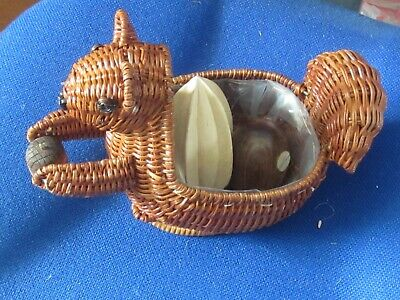 Hand Made Novelty Basketry Squirrel container with Acorn Nuts and Mouse!