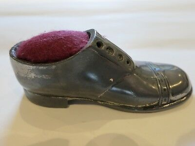 Antique pewter shoe pin cushion