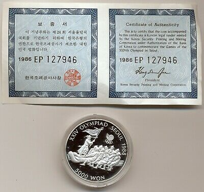 1986 South Korea Proof Silver  5,000 Won, Tug Of War, Km #55
