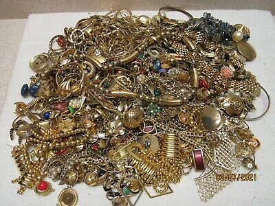 8.4 Pounds Scrap Vintage Gold Plated / Tone Jewelry Lot