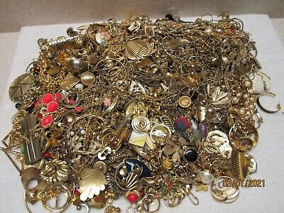 10 Pounds Scrap Vintage Gold Plated / Tone Jewelry Lot