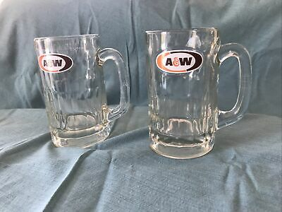 "2 A & W Root Beer Mugs Logo 6"" Heavy Mugs"