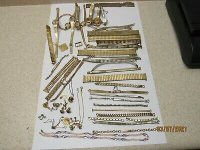 1.1 POUNDS GOLD FILLED WATCHES BANDS JEWELRY Lot
