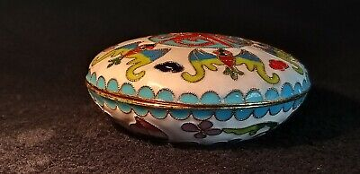 Vintage Small Cloisonne Dish with Lid Beautiful Decoration